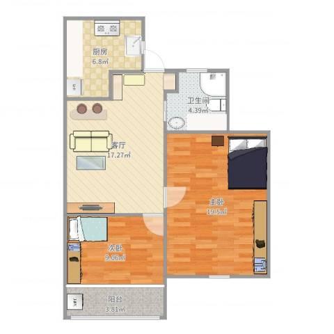 双山小区18-2042室1厅1卫1厨60.82㎡户型图