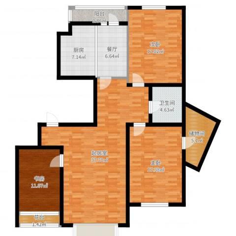 群星国际新城3室1厅1卫1厨139.00㎡户型图