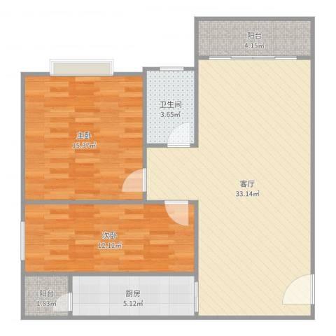 宇翠庭2室1厅1卫1厨88.00㎡户型图