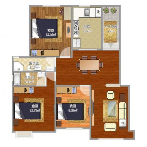 翡翠明珠3室2厅1卫1厨92.00㎡户型图