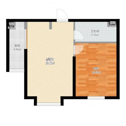 水岸荣华1室2厅1卫1厨67.00㎡户型图
