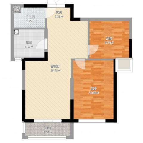 新时代城市家园2室2厅1卫1厨77.00㎡户型图