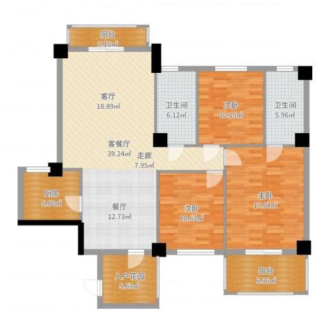 统建水岸人家3室2厅2卫1厨138.00㎡户型图