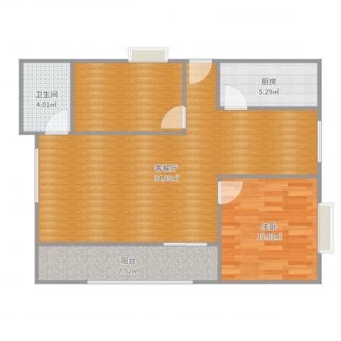 交大新村1室2厅1卫1厨90.00㎡户型图