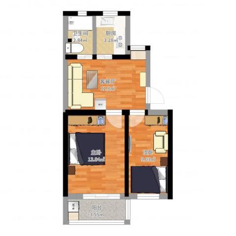 交大新村2室2厅1卫1厨43.54㎡户型图