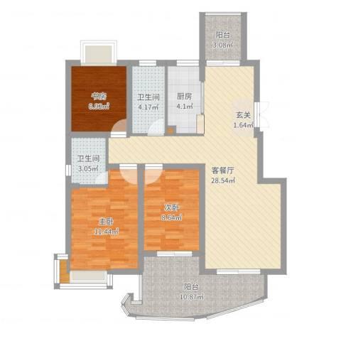 骏和天城3室2厅2卫1厨102.00㎡户型图