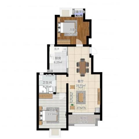 金隅悦城2室1厅1卫1厨87.00㎡户型图