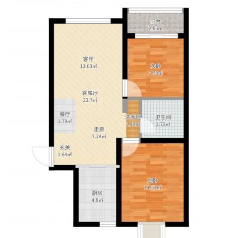 龙景尚都2室2厅1卫1厨68.00㎡户型图