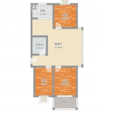 仁和佳苑3室2厅1卫1厨87.00㎡户型图