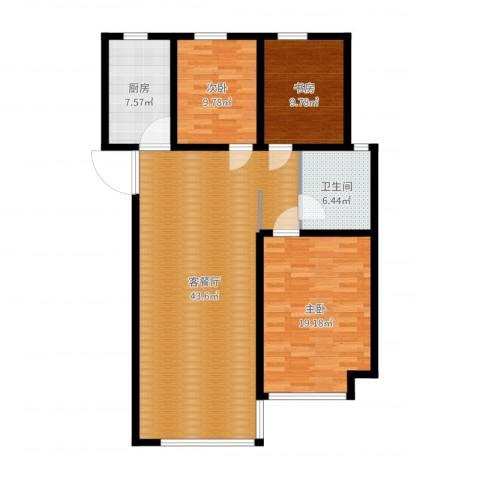 翡翠明珠3室2厅1卫1厨120.00㎡户型图
