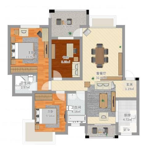 格林公馆3室2厅2卫1厨109.00㎡户型图