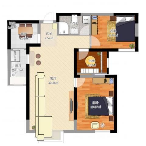 旺城温莎郡3室2厅1卫1厨86.00㎡户型图
