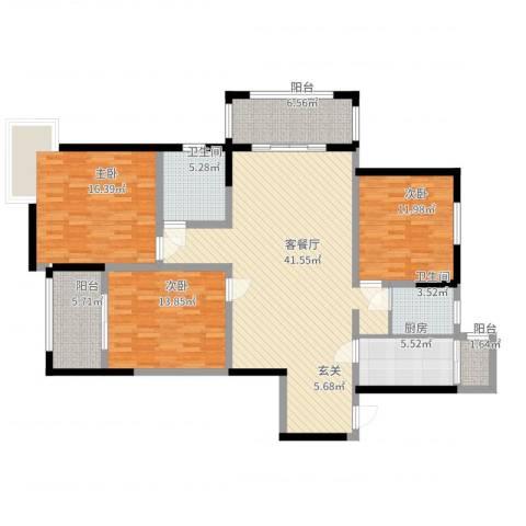 太仓凯盛河滨花园3室2厅2卫1厨140.00㎡户型图