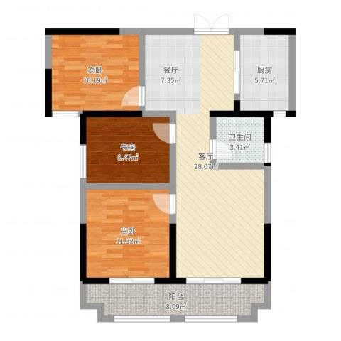 蓝鼎海棠湾3室1厅1卫1厨94.00㎡户型图