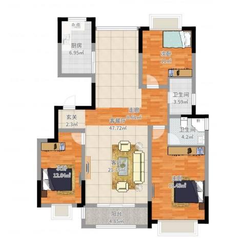 中惠卡丽兰3室2厅2卫1厨136.00㎡户型图
