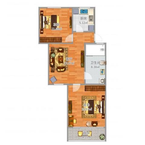 虹城公寓2室1厅1卫1厨80.00㎡户型图