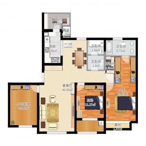 天安曼哈顿2室2厅3卫1厨146.00㎡户型图