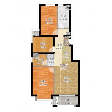 桥机嘉园3室2厅1卫1厨91.00㎡户型图