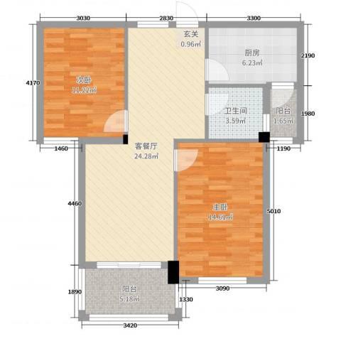 新桥头中心城2室2厅1卫1厨83.00㎡户型图