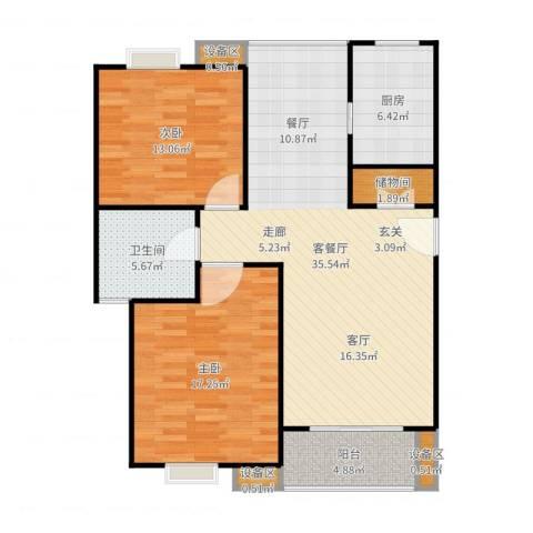 金榜世家六期2室2厅1卫1厨108.00㎡户型图