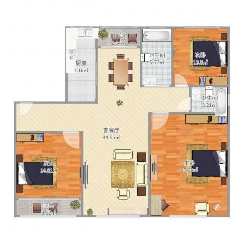 金榜新苑3室2厅2卫1厨150.00㎡户型图