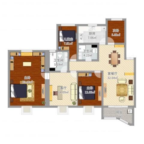 金榜世家四期4室3厅2卫1厨154.00㎡户型图