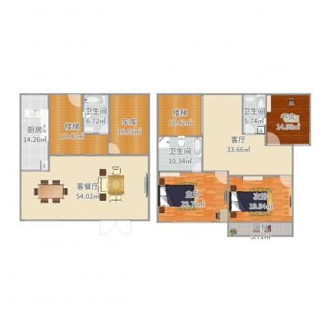 金城绿苑3室3厅3卫1厨294.00㎡户型图