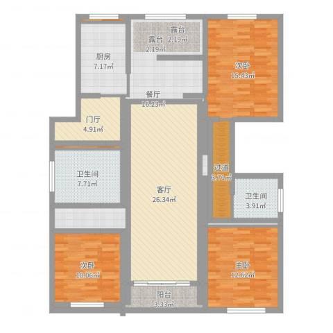 金城绿苑3室2厅2卫1厨140.00㎡户型图
