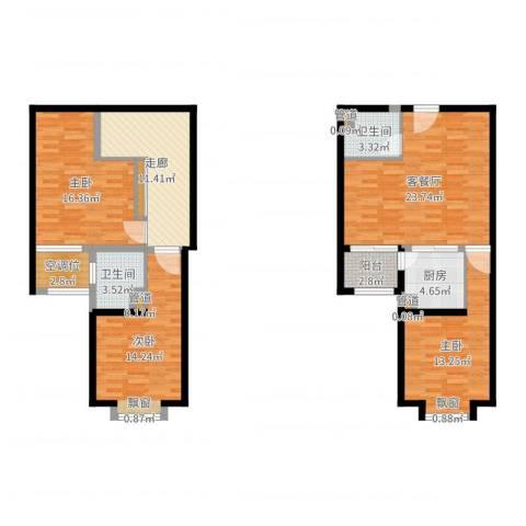 北辰红星国际广场3室2厅2卫1厨121.00㎡户型图