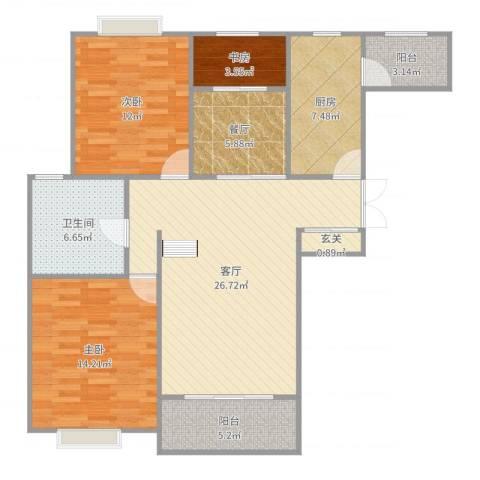唐宁大道3室2厅1卫1厨119.00㎡户型图