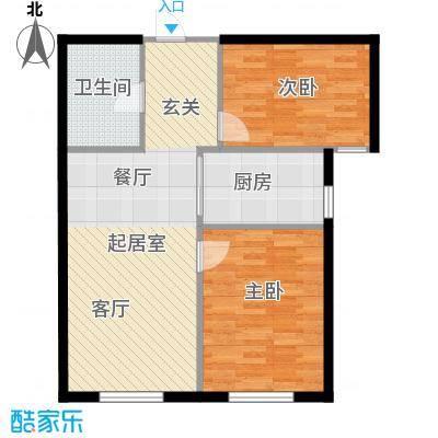西山林语西山林语户型图B5 68平两居户型