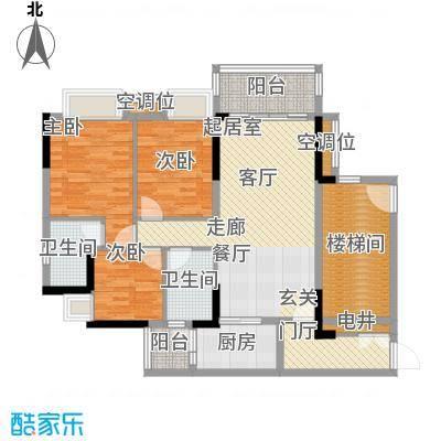 保利花园97.00㎡5号楼一梯04单元户型3室2厅2卫
