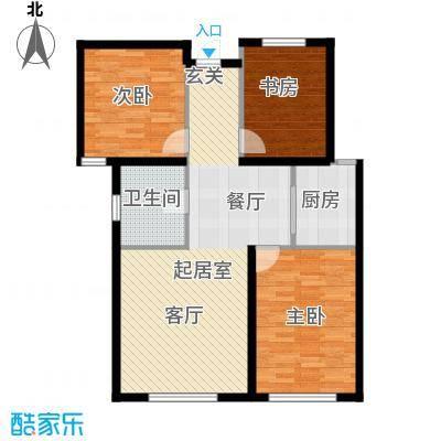 西山林语西山林语户型图C5 88平三居户型