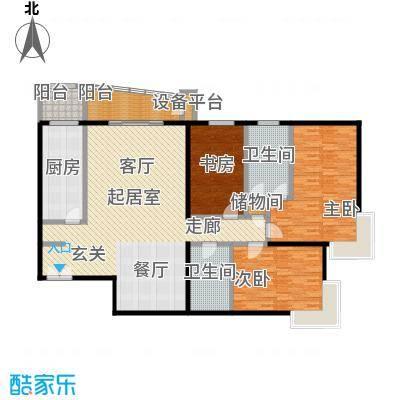 甲方乙方(日月天地)195.27㎡三室两厅两卫户型
