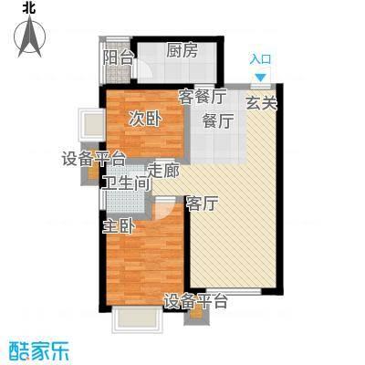 五和苹果国际社区66.00㎡B1二室二厅一卫,建筑面积66平户型2室2厅1卫