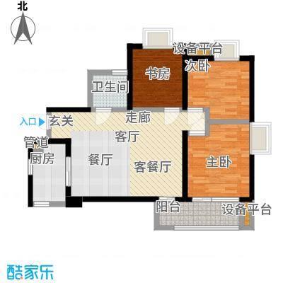 五和苹果国际社区89.00㎡三室两厅一卫户型