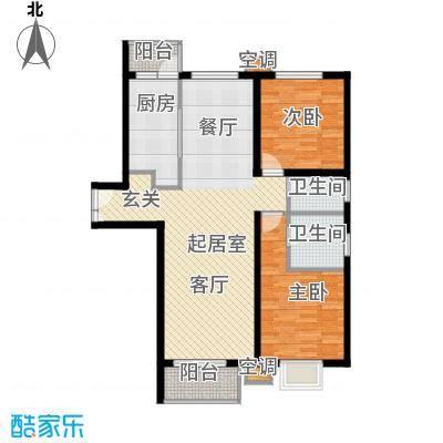 首开知语城127.00㎡B2-1两室两厅两卫户型