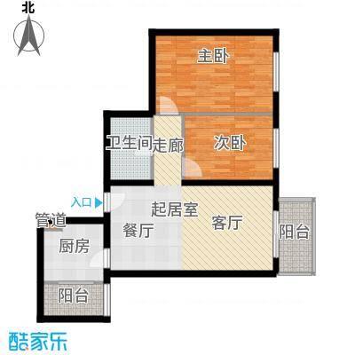 首开知语城85.00㎡C-2户型二室二厅一卫户型