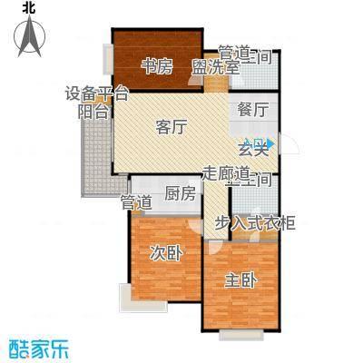 颐景蓝湾B户型 127.60平米 三室两厅两卫户型