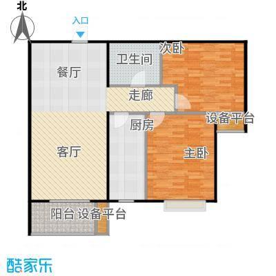 颐景蓝湾B户型 89.44平米 两室两厅一卫户型