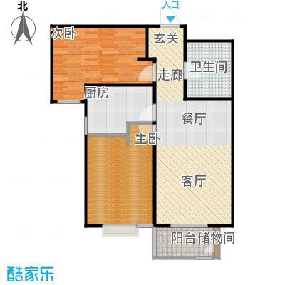 颐景蓝湾B户型 86.28平米 两室两厅一卫.户型
