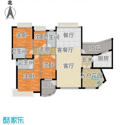 海琴湾150.48㎡3-21层偶数层01单位户型4室1厅3卫1厨