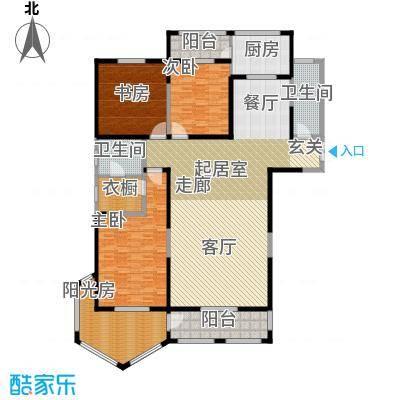 香格里拉224.00㎡2香格里拉 户型图 1号楼三室两厅两卫 224平米户型3室2厅2卫