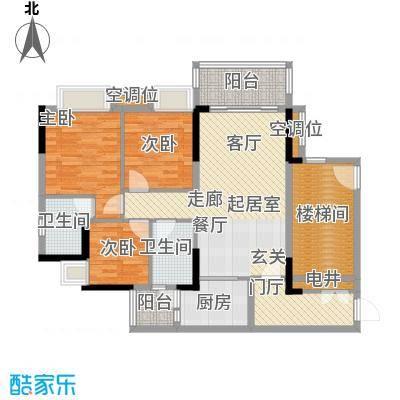 保利花园98.00㎡2号楼一梯04单元户型3室2厅2卫