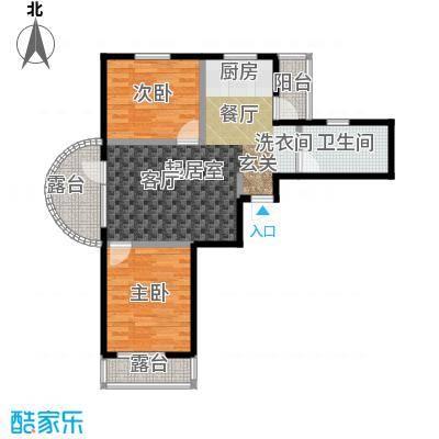 热岛黄金海岸A户型 二室一厅 88.81~90.28㎡户型