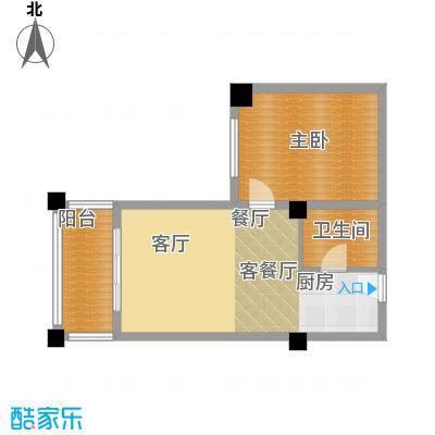 知言・棋子湾一号62.06㎡F户型1室2厅1卫