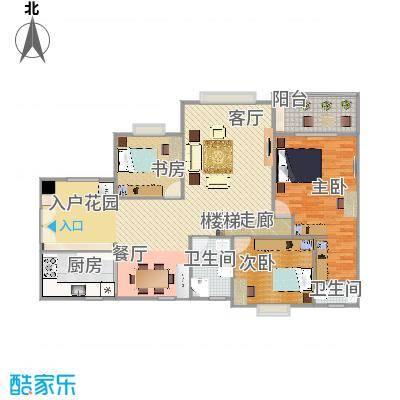 畔山龙庭D栋119.66平方三室两厅户型图(有家具)