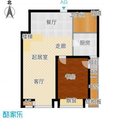 绿岛公寓107.68㎡高层标准层D1户型