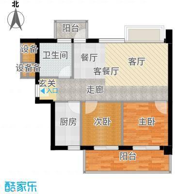 尚领时代74.98㎡D05单元2室面积7498m户型