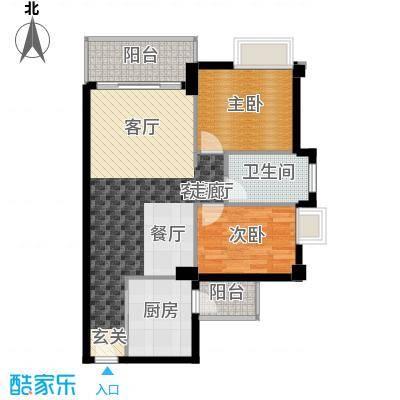 尚领时代75.38㎡D04单元2室面积7538m户型